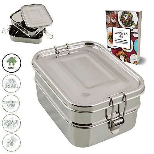 homeAct Edelstahl Eco Lunchbox & Brotdose | auslaufsicher, nachhaltig und gesund | 3 in 1 | Jausenbox für Schule, Uni, Arbeit und Camping - GRATIS Rezept E-Book