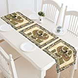 Interestprint ancien égyptien Parchemin Polyester chemin de table Set de table 40,6x 182,9cm, vieux Papyrus d'Égypte Déesse Nappe pour bureau de cuisine salle à manger fête de mariage Home Decor