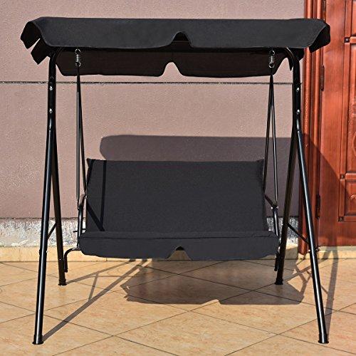 Hollywoodschaukel Schaukel Gartenschaukel Gartenliege Gartenbank 2-Sitzer mit Sonnendach - 4