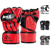 Brace Master MMA Gloves Guantes UFC Guantes de Boxeo para Hombres Mujeres Cuero Más Acolchado Saco de Boxeo sin Dedos Guantes para Kickboxing, Sparring, Muay Thai y Heavy Bag (Rojo L)