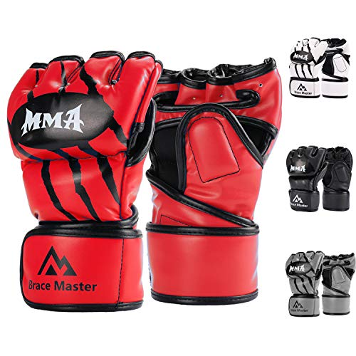 Brace Master Gants MMA Gants UFC pour Hommes et Femmes, Gants pour l'entrainement en Cuir sans Doigts, Gants de Protection Convient Combats, Boxe, Taekwondo, Arts Martial Mixte (Small, Rouge)