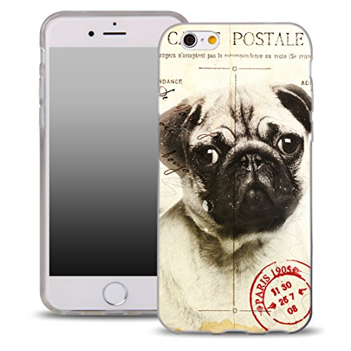 Ooh. Color Design Case pour iPhone 6 et 6S 4.7 Coque silicone Chien jac002 Dog Carlin graphique Sac de protection étui élastique Cover Print Stylish Étui souple avec motif fin Flexible Design 9