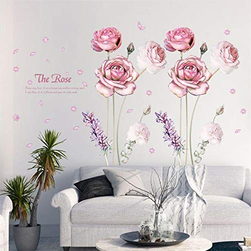Wandaufkleber für Mädchen Jungen Schlafzimmer Wohnzimmer Küche Zitate 3D Blütenblatt Und Lavendel Rosa Rose Blume Abnehmbare Vinyl Decor