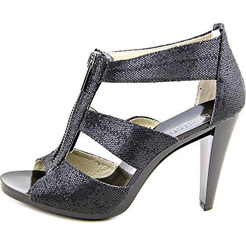 Michael Michael Kors Berkley T Strap Textile Sandale Black Glitter