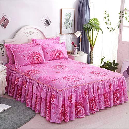 RUIDP Bett Rock Rüschen Hautfreundlich Bilaterale Polyesterfaser Prinzessin Bett bettrock für Schlafzimmer weiche bettrock elastisch rüschen kann den Ball Nicht leisten Bettvolant -