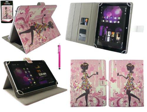 Emartbuy® bq Edison 3 10.1 Inch Tablet Universal Series Niña de las Flores Ángulo Múltiples Executive Folio Funda Carcasa Wallet Case Cover Con Tarjeta Crédito Slots + Hot Rosa Lápiz