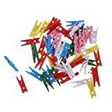 50pcs Mini Pince Coloré en Bois Couleur Mixte Epingle à Linge Clips pour DIY Décoration Dimension 0.3cm