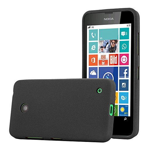 Cadorabo Hülle für Nokia Lumia 630 - Hülle in Frost SCHWARZ – Handyhülle aus TPU Silikon im matten Frosted Design - Silikonhülle Schutzhülle Ultra Slim Soft Back Cover Case Bumper