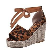 Womens Wedge Sandals Espardrilles Ankle Lace Up Platform Ladies Peep Toe Comfort Sport Ankle Strap Sandals by LILICAT