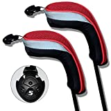 Andux 2pcs/Set Golf Hybrid Club Head Covers with Interchangeable No. Tag Pack of 2