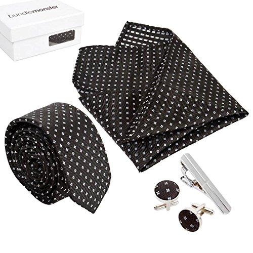 Bundle Monster Herren Fashion Krawatte Manschettenknöpfe Krawatte Bar Pocket quadratisch Combo Set, Schwarz