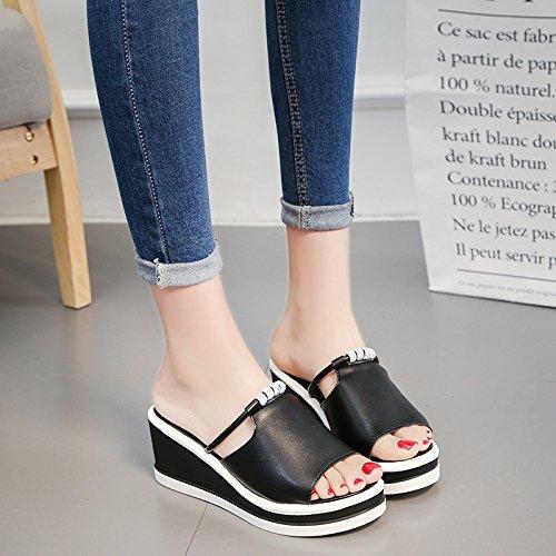 RUGAI-UE Pantofole fondo spesso semplice estate donne High-Heeled Scarpe comfort Black