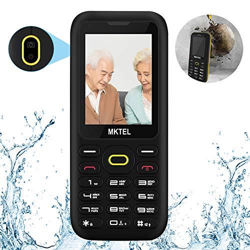 MKTEL Wasserfestes Mobiltelefon, Einfaches Handy, Dual SIM Seniorenhandy mit 2,4in Farbdisplay für Senioren, Kinder (5 Sprache, VGA Kamera, FM-Radio, Taschenlampe, MEHRWEG)