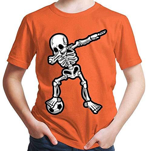 t Dab Skelett mit Fussball Dab Dabbing Dance Halloween Plus Geschenkkarten Orange 116/5-6 Jahre ()