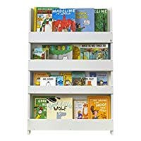 Tidy Books® - Kids Bookcase | Childrens Montessori Bookshelf | Wall Bookshelf | Wood | White | 115 x 77 x 7 cm | ECO Friendly | HANDMADE | The Original since 2004