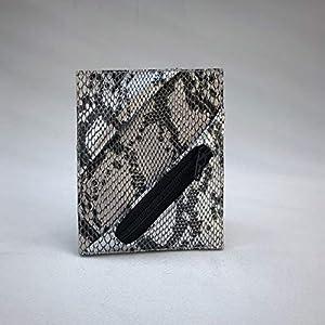 Kreditkartenetui Cardholder Geldbeutel Visitenkarten Etui tablet Silber Schlange Snake Snakeprint Animal ykk Münzfach…
