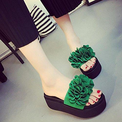 LvYuan Frauen Sommer Hausschuhe / Komfort Casual Fashion / Wedge Ferse / dicken Boden / wasserdichte Plattform / High Heel / Sexy Blume / Sandalen / Strand Schuhe Green