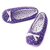TWINS Fashion « Rio » schöne & süße Damen-Hausschuhe I Ballerinas I Pantoffeln I Slippers - Plüsch Baumwolle rutschfest - diverse Farben (38/39, Lila)