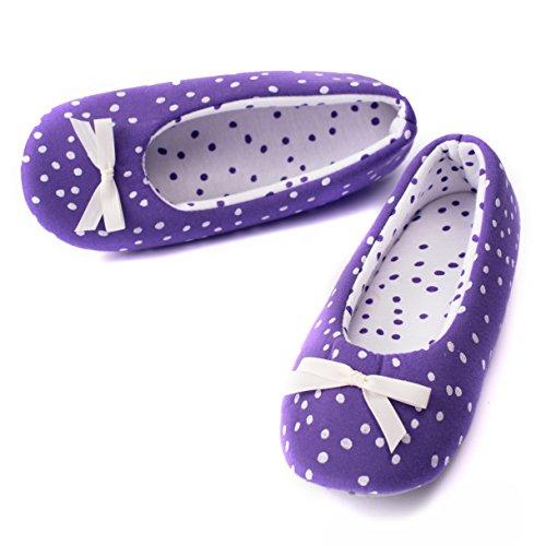 TWINS Fashion - « Rio » - schöne & süße Damen Pantoffeln - leichte Baumwolle Ballerinas - gemütliche & rutschfeste Hausschuhe in diversen Farben und Ausführungen (38/39, Lila)