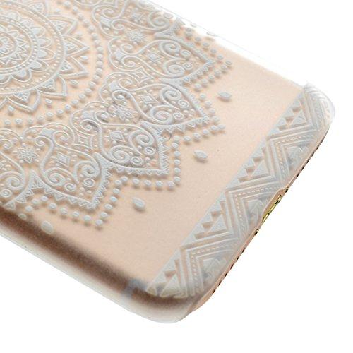 iphone 7 4.7 Zoll Hülle,iphone 7 Transparent Crystal Case,Ekakashop Ultra dünn Slim Modisch Durchsichtig Rechts Halbkreis Blume Muster Weiche Silikon TPU Flexible Gel Case Bumper Defender Protective S Blumenschale