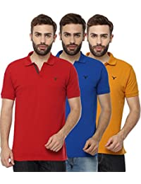 Youthen Solid Men's Cotton Polo Neck T-Shirt - Royal Blue, Mustard & Red