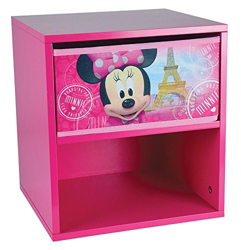 FUN HOUSE 712862 DISNEY MINNIE Table de Chevet pour Enfant, MDF, 33 x 30 x 36 cm