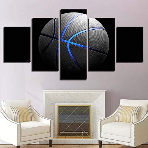 Cyalla Leinwand Hd Print Malerei Wohnkultur 5 Stücke Blau Licht Sport Basketball Poster Modulare Bilder Wohnzimmer Wandkunst Rahmen-40X60Cmx2 40X80Cmx2 40X100Cmx1 -