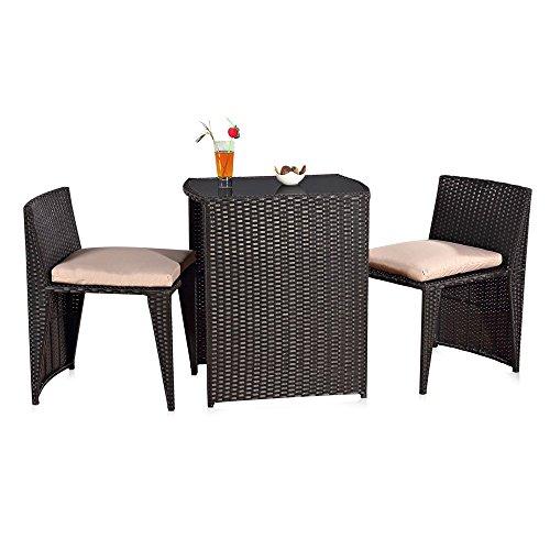 Melko® 3 tlg. Sitzgruppe Gartenset Lounge aus Polyrattan, Schwarz, 2 Stühlen und 1 Tisch (Ess-sitz-kissen)