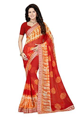 Rani Saahiba Gota Border Bandhani Printed Georgette Saree (SKR4140_Red)