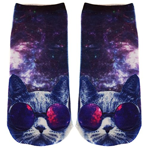 Ferocity Lustige Socken Sneaker Halbsocken Strümpfe Sportsocken Füßlinge mit Motiv 3D Galaxy Sunglasses Cat [001] - Galaxy Jersey