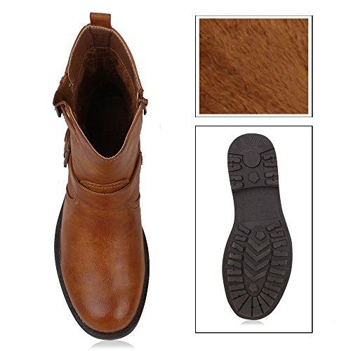 Gefütterte Herren Biker Boots Derbe Stiefel Lederoptik Schuhe Hellbraun