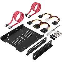 """Inateck 2x 2,5"""" HDD/SSD zu 3,5"""" Festplatten-Einbaurahmen Set intern, Halterung, Rahmen, inklusive 2x SATA Datenkabel und 2x Stromkabel (ST1004)"""