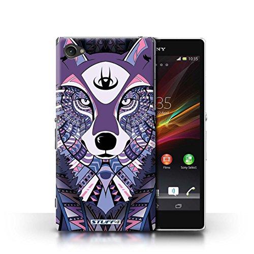 Kobalt® Imprimé Etui / Coque pour Sony Xperia Z1 Compact / Loup-Mono conception / Série Motif Animaux Aztec Loup-Pourpre