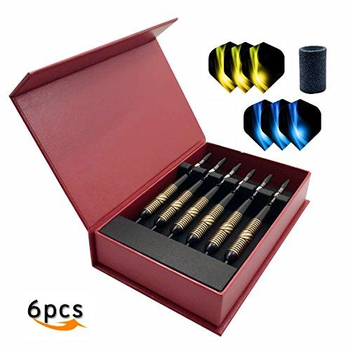 Steel Spitzer Darts Tip (Stahl TIP Darts 6Pack 23Gramm Darts Zubehör Aluminium Stängel und 2Stil Flights Profi Metall Dart Tipps Sets und Dart Spitzer mit Tasche Set von 1BIPY)