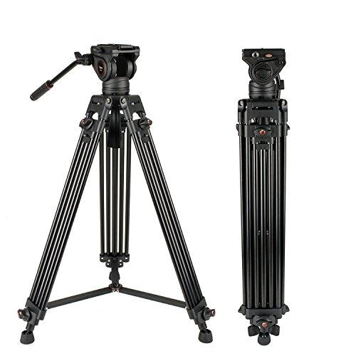 Video Stativsystem, Cayer BV30L 72 Zoll - Professionelles Hochleistungs-Aluminium-Doppelrohrstativ, K3-Fluidkopf, Mittelspreizer, 13,2 LB, DSLR-Camcorder, Plus 1 Bonus-Schnellwechselplatte - Fluidkopf Video-stativ