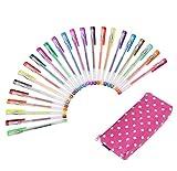 Exerz ART EXGL24B 24 STK farbige gel Stifte in einem bedruckten Mäppchen - feine Tinten-Kugelschreiber, exzellente Qualität, kräftige Farben, leichter Fluss, enthält Glitzerfarben, neon, metallic und glitzer neon Farben - Lila