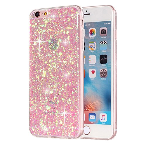 Crystal Bling Case (Movoja Glitzer-Hülle passend für Apple iPhone 6 6S TPU Glitzer-Hülle - Pailletten Glitzer Schutzhülle Case Crystal Case mit Glitzer Bling Bling Uni Design Muster Beschichtung iPhone-6-6 - Rosé/Pink)