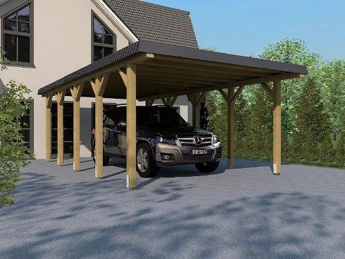 Carport in legno lamellare rhein-hunsrück-kreis II 340x 800cm, con mascherina, copertura del tetto in ardesia
