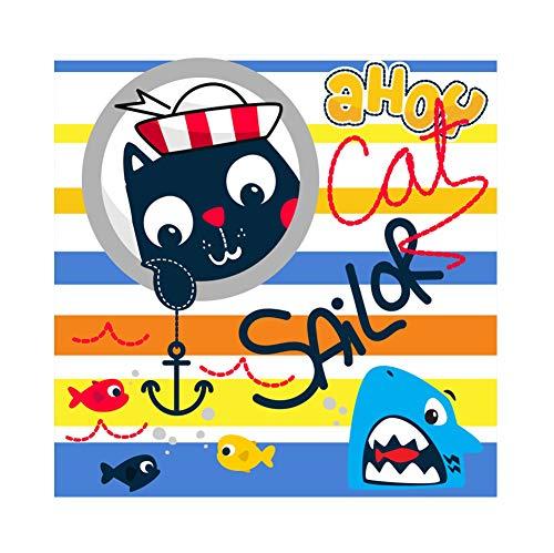 Cassisy 1,5x1,5m Vinyl Fotohintergrund Karikaturkatze Baby Shark Sailor Bunte Streifen Tapete Fotoleinwand Hintergrund für Fotoshoot Fotostudio Requisiten Party Kinder Photo Booth