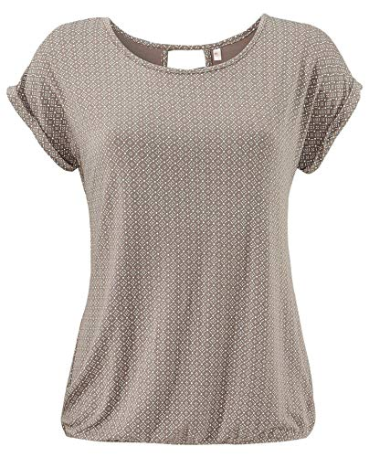 ELFIN Damen T-Shirt Kurzarm Blusen Shirt mit Allover-Minimal Print Lose Stretch Basic Tee, Light Brown, L