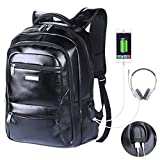 VIDENG Leather School Backpack with USB Charger Port Multifunctional Casual 15.6 inch Laptop
