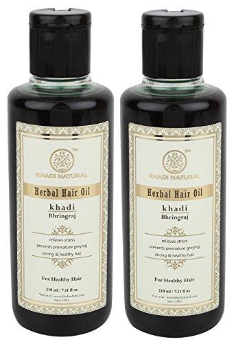 Khadi Bhringraj Haar Öl, 210ml für Haar Wachstum, schwarz Haar Volumen Bhringraj Haaröl