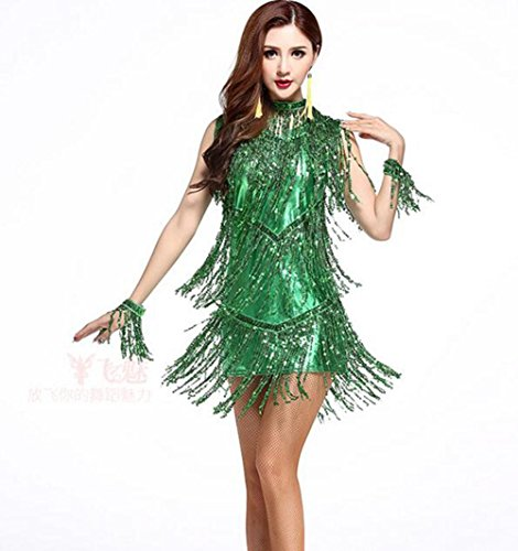 Für Wettbewerbs Tanz Erwachsene Kostüm - RENMEN Fringe Rock Latin Tanzkleidung weibliche Erwachsene Kostüm Wettbewerb Service Tanz Praxis Kleidung, L