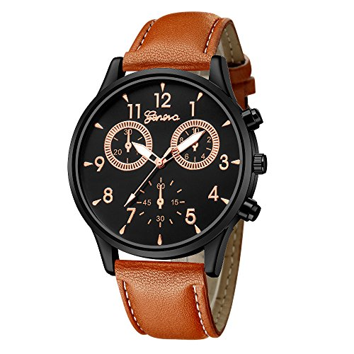 IG-Invictus Mode Für Männer Leder Military Casual Analog Quarz-Armbanduhr Business Uhren Genf Uhr 635 Gürtel Schwarz Rose Brown Gürtel