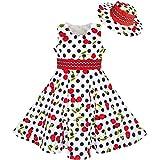 Sunboree Mädchen Kleid Hut Weiß Schwarz Punkt Kirsche Tanzen Gr. 116-122