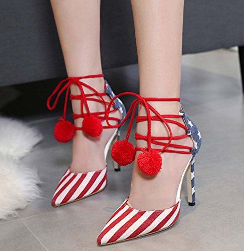 Demin Drapeau Pattern High Heel Pointed Toe Bracelet Cheville Tassel D'orsay Stiletto Heel OL Chaussures Chaussures De Travail Flag