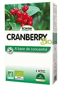 Biotechnie - Cranberry concentré Bio - 20 ampoules - La Cour'Tisane