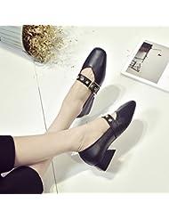 Raíz Cuadrada De Grueso Con Zapatos Zapatos Zapatos Retro Korean Documentary Abuela,Eu35,Black