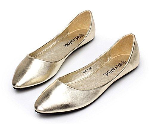 Aisun Damen Typisch Spitz Flach Asakuchi Geschlossen Ballerinas Silber 41 EU SjFj8G1QrQ