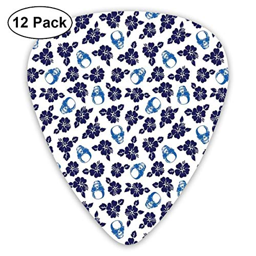 Guitar Picks - Abstract Art Colorful Designs,Tropical Hibiscus Flowers With Cool Skull Sunglasses Foliage Silhouette,Unique Guitar Gift,For Bass Electric & Acoustic Guitars-12 Pack